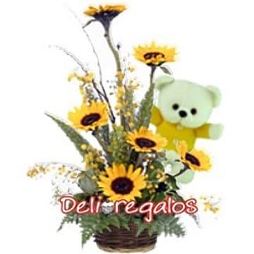 Arreglos Florales con Girasoles | Girasoles con Peluche - Cod:AGG36