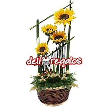 Arreglos Florales con Girasoles | Cesta con Girasoles  - Cod:AGG41