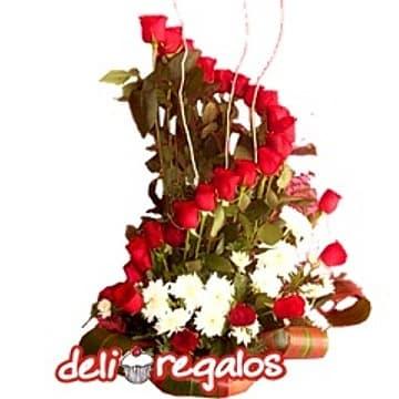 Rosas Rojas en base ceramica - Cod:ARL44