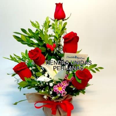 Tortas.com.pe - Detalle especial - Codigo:AGT46 - Detalles: Arreglo  en base de cer�mica., 5 rosas importadas, osito Tommy de 21cm, lilium perfumado, hojas y follaje de estacion.  - - Para mayores informes llamenos al Telf: 225-5120 o 476-0753.