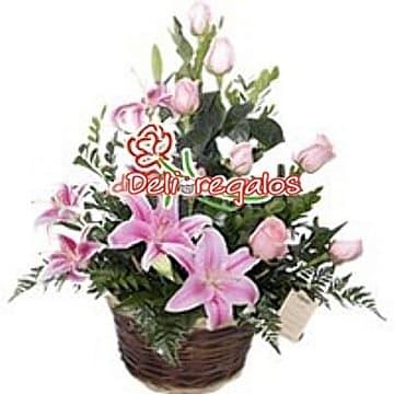 Rosas Rosadas y Liliums - Cod:ARL48