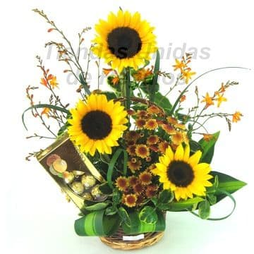 Girasoles con Chocolate Ferrero Rocher - Cod: AGG50 - Regalos a Domicilio. Whatsapp: 980660044.