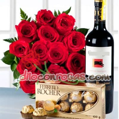 I-quiero.com - Ramo, Vino y Bombones - Codigo:ENL07 - Detalles: Chocolate Ferrero Rocher x 8 unidaes, Vino Frontera de 750ml, Ramo de 15 rosas importadas.  El presente incluye una tarjeta de dedicatoria. - - Para mayores informes llamenos al Telf: 225-5120 o 476-0753.