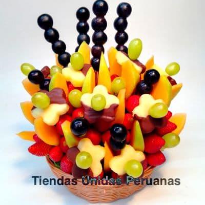 Frutero con Chocolate y Frutas grande - Whatsapp: 980-660044