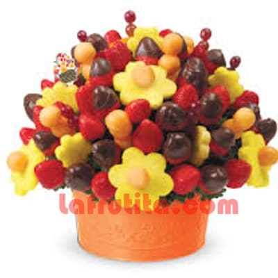 Canastas de Frutas a Lima Peru | Frutero con Fresas y Chocolate Grande - Cod:FCF03