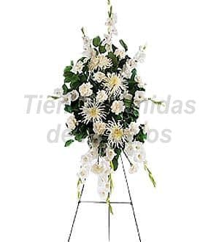 Arreglos Fúnebres | Envio de Lagrima con Pedestal Blanca - Cod:FNB04