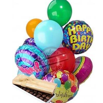 Caja con Globos de Feliz Cumpleaños - Cod:GBT05