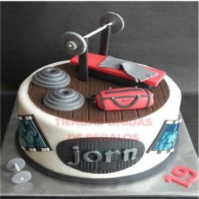 torta deportes | torta gimnasio | torta hombre con pesas | Torta Banco Musculacion - Whatsapp: 980-660044
