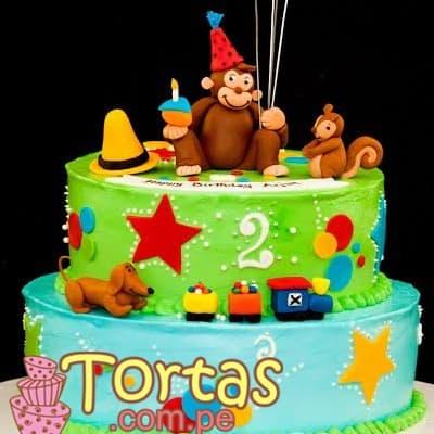 Torta con decoracion de Jorge El curioso - Cod:JMC09
