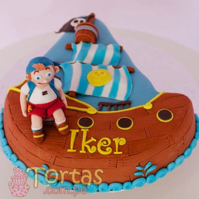 Torta del tema Jake y piratas - Whatsapp: 980-660044