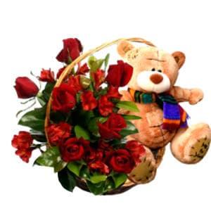Dia de la Madre Rosas | Arreglo de Rosas y Peluche para Mama - Cod:DMA06