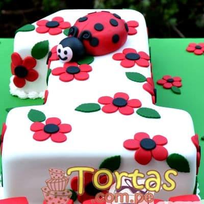 Torta en forma de Mariquita - Codigo:LBB03 - Whatsapp: 980-660044.