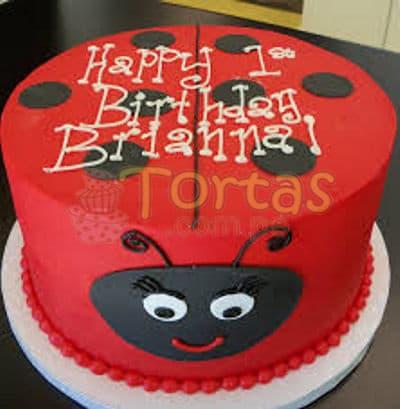 Deliregalos.com - Torta Mariquita 06 - Codigo:LBB06 - Detalles: Keke De Vainilla   el keke esta finamente decorado en masa el�stica, Medida:20 cm de diametro, dise�o segun imagen - - Para mayores informes llamenos al Telf: 225-5120 o 476-0753.
