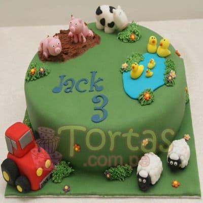 Torta con la tematica de la Granja  | Tarta infantil |  Torta de granja | Tortas de la granja - Cod:LGM14