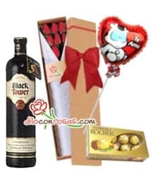 Caja con rosas, Globo, Bombones y vino importado - Cod:LIC12