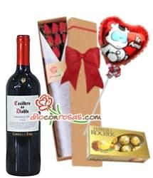 Caja con Rosas, Globo, Bombones y Vino Tinto - Cod:LIC13