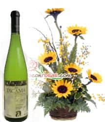 Vino Tacama Blanco Especial y Arreglo de Girasoles - Cod:LIC07