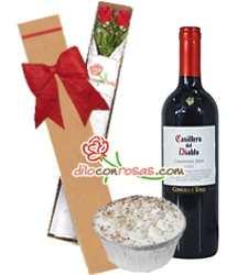 Caja de rosas, vino importado y postre | Rosas Delivery - Cod:LIC10