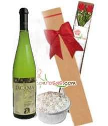 Caja de Rosas con Vino Tacama y Postre - Cod:LIC11