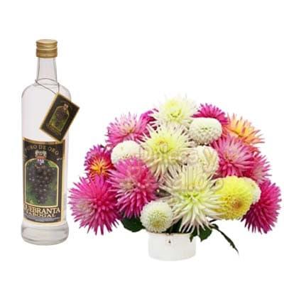Pisco y Arreglo Floral | Canasta de licores para Regalo | Arreglos florales con Licor - Cod:LIC27