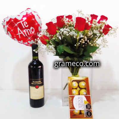 Vino Estancia Mendoza | Rosas Importadas | Ferrero Rocher | Globo Metalico | Regalos Delivery - Cod:LVN08