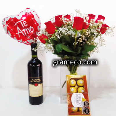 Vino Familia Crotta | Rosas Importadas | Ferrero Rocher | Globo Metalico | Regalos Delivery - Cod:LVN08