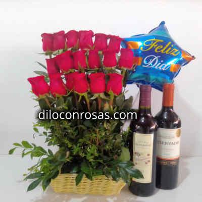Arreglo de Rosas | Cava de Vinos | Globo Feliz dia | Regalos para Aniversarios - Cod:LVN10