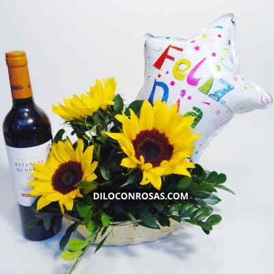 Vino con Girasoles | Arreglos Florales con Vinos | Delivery de vinos - Cod:LVN12