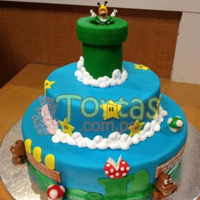 Torta con tema Mario Bros - Codigo:MBK03 - Whatsapp: 980-660044.