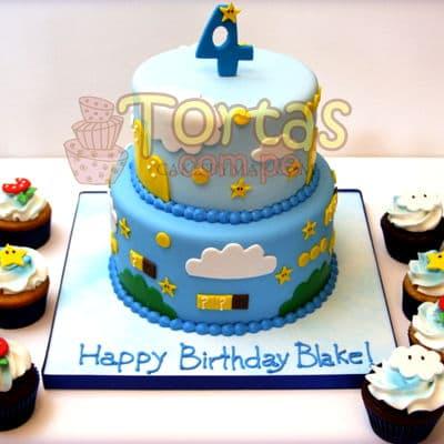 Torta Mario Bros y cupcakes - Codigo:MBK06 - Whatsapp: 980-660044.