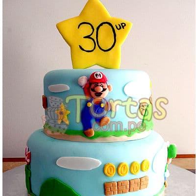 Torta del tema Mario Bros  - Codigo:MBK10 - Whatsapp: 980-660044.