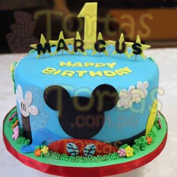 Tortas.com.pe - Torta Mickey 04 - Codigo:MCK04 - Detalles: Deliciosa Torta de 20cm de diametro, incluye todos los detalles comestibles que se ven en la imagen a base de masa elastica, el cliente debe indicar por escrito y confirmar por telefono el numero que va en el torta (este detalle es de cortesia y no influye en el costo final). Incluye tambien un nombre de hasta 7 letras. La torta es a base de keke De Vainilla, rellena de manjar blanco y todos los detalles son en azucar - - Para mayores informes llamenos al Telf: 225-5120 o 476-0753.