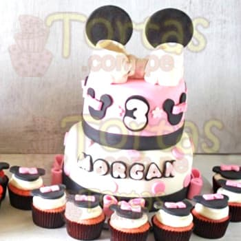 Torta Minnie con Cupcakes- Whatsapp: 980-660044