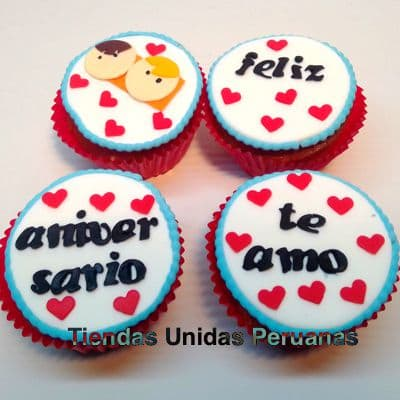 Cupcakes Aniversario | Regalos de Amor para Mujeres | Cupcakes de amor para Cumpleaños - Cod:MCM23