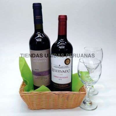 Canasta de Regalo con Copas y Vinos | La Canasteria | Canasta Regalo con Vinos - Cod:MCN20