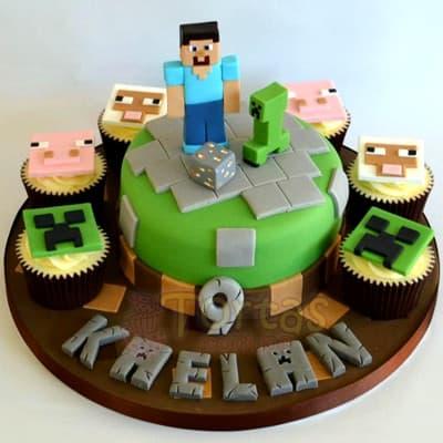 Torta MineCraft redonda - Whatsapp: 980-660044