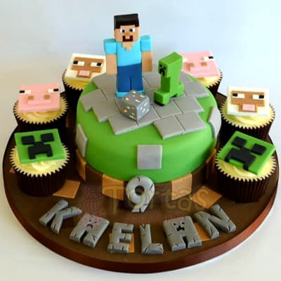 Torta MineCraft redonda | Tortas Minecraf | Tortas | Torta Minecraft - Whatsapp: 980-660044