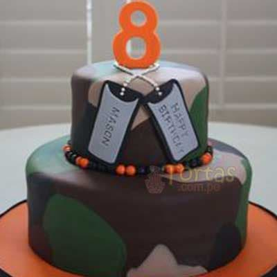 Diloconrosas.com - Torta Militar 06 - Codigo:ENP06 - Detalles: Deliciosa torta de keke De Vainilla ba�ada con manjar y forrada con masa elastica de Medidas: Primer piso de 20 cm de diametro, segundo piso de 15 cmde diametro,decoracion seg�n imagen en masa elastica, base forrado en papel de aluminio. - - Para mayores informes llamenos al Telf: 225-5120 o 476-0753.