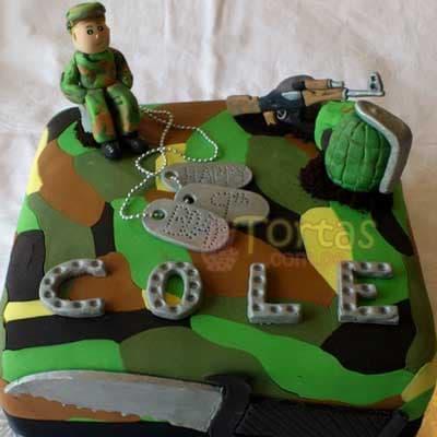 Grameco.com - MILITAR 12 - Codigo:MIL12 - Detalles: Deliciosa torta de keke De Vainilla ba�ada con manjar y forrada con masa elastica de Medida 25 X 25 cm diametro, decoracion seg�n imagen ,base forrado en papel de aluminio. - - Para mayores informes llamenos al Telf: 225-5120 o 476-0753.