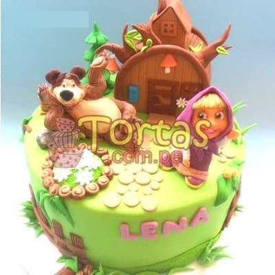 Torta Masha y el Oso redonda | Tortas de Masha y el Oso - Cod:MYS06