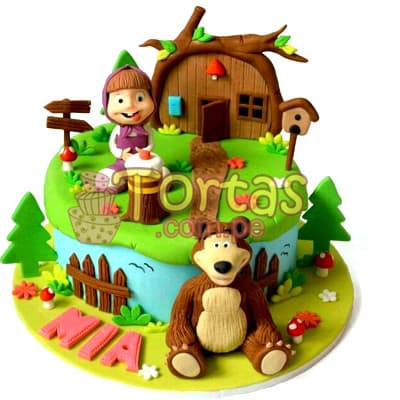 Torta Masha y el Oso para niña - Cod:MYS07