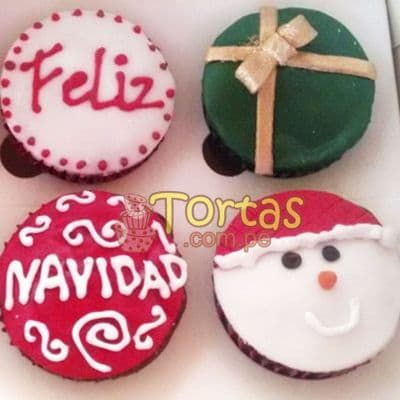 i-quiero.com - Cupcakes por Fiestas - Codigo:NAC15 - Detalles: 4 muffins decorados con masa el�stica motivos navide�os - - Para mayores informes llamenos al Telf: 225-5120 o 476-0753.