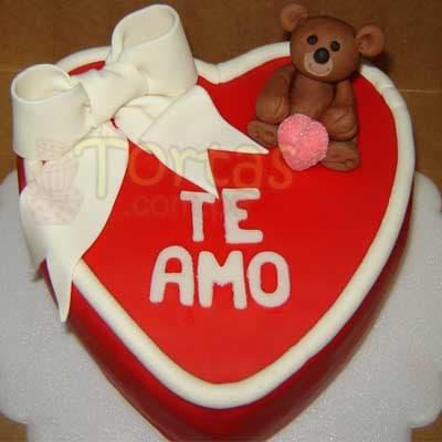 Torta Osito de Corazon | Pasteles | Pasteles de amor | Torta de amor - Cod:NMR07