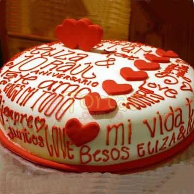 Desayunosperu.com - Enamorados 10 - Codigo:NMR10 - Detalles: Deliciosa torta de keke De Vainilla ba�ada con manjar y forrada con masa elastica de Medida: de 20 cm diametro, decoracion en masa elastica, mensaje seg�n cliente desea, base forrado en papel de aluminio. - - Para mayores informes llamenos al Telf: 225-5120 o 476-0753.
