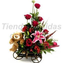 Carreta de madera con Rosas y Peluche - Cod:OFE10
