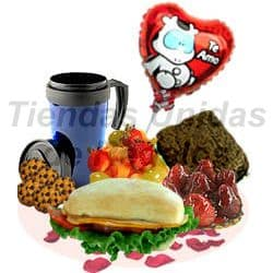 i-quiero.com - Desayuno Gourmet con Globo Te amo - Codigo:OFE11 - Detalles: Bandeja de Cart�n ecol�gico conteniendo: Mug de ceramica para caf�, ensalada de frutas, 4 galletas de chispas de chocolate, S�ndwich de lomito ahumado en Pan Bimbo especial, tartaleta de frutsa, Brownie, juego de cubiertos, tarjeta de dedicatoria, globo met�lico en Te Amo. - - Para mayores informes llamenos al Telf: 225-5120 o 476-0753.