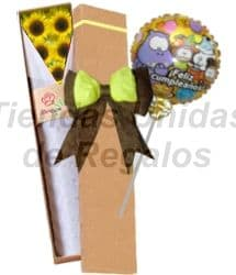Girasoles en caja y Globo - Cod:OFE13