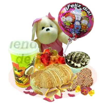 i-quiero.com - Desayuno con Peluche y Globo - Codigo:OFE15 - Detalles: Bandeja de Cart�n ecol�gico conteniendo: Jugo de Naranja, s�ndwich mixto en pan Pan Bimbo Especial,, ensalada de frutas, postre 3 leches, 5 galletas choco chip, peluche perrito de 25cm, globo de feliz d�a, bomb�n de chocolate, juego de cubiertos y globo met�lico Feliz d�a.   - - Para mayores informes llamenos al Telf: 225-5120 o 476-0753.