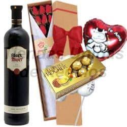 Vino con Chocolate, peluche y globo - Cod:OFE21