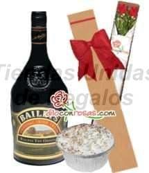 Rosas con Baileys y postre - Cod:OFE25